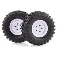 "HSP 1.9"" RC4 Soft Off-Road Tyres on White Rims - Wheels 2Pcs"