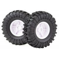 """HSP 1.9"""" RC4 Soft Off-Road Tyres on White Rims - Wheels 2Pcs"""