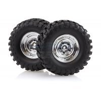 "HSP 1.9"" RC4 Soft Off-Road Tyres on Chrome Rims - Wheels 2Pcs"
