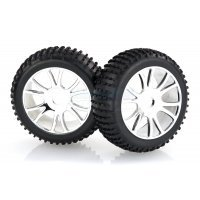 "HSP 2.8"" Knobby Tyres on Chrome Rims - Wheels 2Pcs"