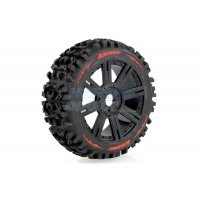 "Louise 3.3"" B-Pioneer Tyres on Black 8 Spoke Rims - Glued Wheels 2Pcs"