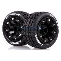 "Louise 2.2"" ST-Rocket Tyres on Black Spoke Rims - Glued Truck Wheels w/ Foam 2Pcs"