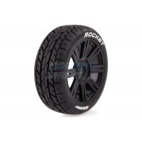 "Louise 3.3"" B-Rocket Tyres on Black 8 Spoke Rims - Glued Wheels 2Pcs"