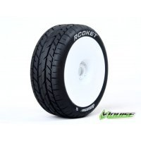 "Louise 3.3"" B-Rocket Tyres on White Dished Rims - Glued Wheels 2Pcs"