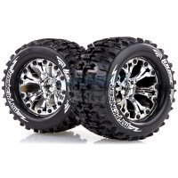 "Louise 2.8"" MT-Pioneer Tyres on (1/2 Offset) Chrome Rims - Glued Wheels 2Pcs"