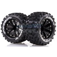 "Louise 2.8"" MT-Uphill Tyres on Black Spoke Rims - Glued Truck Wheels w/ Foam 2Pcs"