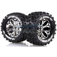 "Louise 2.8"" MT-Uphill Tyres on Chrome Spoke Rims - Glued Truck Wheels w/ Foam 2Pcs"