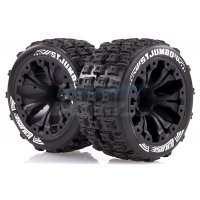 "Louise 2.8"" ST-Jumbo Tyres on (1/2 Offset) Black Rims - Glued Wheels 2Pcs"
