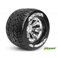"Louise 3.8"" MT-Rocket Tyres on Chrome Rims - Glued Wheels 2Pcs"
