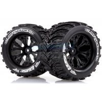"Louise 2.8"" MT-Cyclone Tyres on Black Spoke Rims - Glued Truck Wheels w/ Foam 2Pcs"
