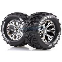 "Louise 2.8"" MT-Cyclone Tyres on Chrome Spoke Rims - Glued Truck Wheels w/ Foam 2Pcs"