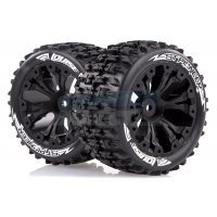 "Louise 2.8"" ST-Pioneer Tyres on Black Spoke Rims - Glued Truck Wheels w/ Foam 2Pcs"