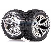 "Louise 2.8"" ST-Pioneer Tyres on Chrome Spoke Rims - Glued Truck Wheels w/ Foam 2Pcs"
