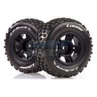 "Louise 2.2/3.0"" SC-Rock Tyres on Black Spoke Rims - Glued Short Course Wheels w/ Foam 2Pcs"