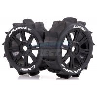 Louise 84mm B-Paddle Tyres on Black Spoke Rims - Glued Buggy Wheels w/ Foam 2Pcs