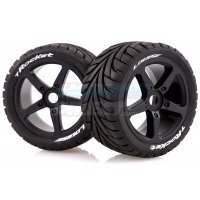 "Louise 3.8"" T-Rocket Tyres on Black Spoke Rims - Glued Truggy Wheels w/ Foam 2Pcs"