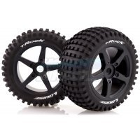 "Louise 3.8"" T-Rock Tyres on Black Spoke Rims - Glued Truggy Wheels w/ Foam 2Pcs"