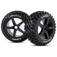 "Louise 3.8"" T-Apollo Tyres on Black Spoke Rims - Glued Truggy Wheels w/ Foam 2Pcs"