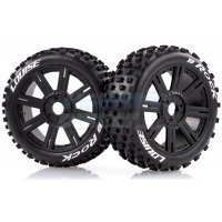 "Louise 3.3"" B-Rock Tyres on Black Spoke Rims - Glued Buggy Wheels w/ Foam 2Pcs"