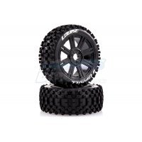 "Louise 3.3"" B-Uphill Tyres on Black Spoke Rims - Glued Buggy Wheels w/ Foam 2Pcs"
