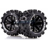 "Louise 2.8"" MT-Mcross Tyres on Black Spoke Rims - Glued Truck Wheels w/ Foam 2Pcs"