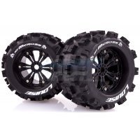 "Louise 3.8"" MT-Mcross Tyres on Black Spoke Rims - Glued Truck Wheels w/ Foam 2Pcs"