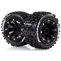 "Louise 2.2"" ST-Pioneer Tyres on Black Spoke Rims - Glued Truck Wheels w/ Foam 2Pcs"