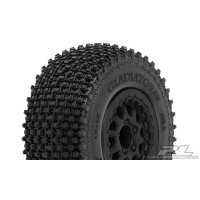 "Pro-Line 2.2/3.0"" Gladiator M2 (Medium) Tyres on Black Renegade Rims - Glued Wheels 2Pcs"
