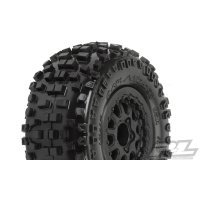 "Pro-Line 2.2/3.0"" Badlands M2 (Medium) Tyres on Black Renegade Rims - Glued Wheels 2Pcs"