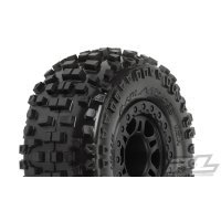 "Pro-Line 2.2/3.0"" Badlands M2 (Medium) Tyres on Black Split Six Rims - Glued Wheels 2Pcs"