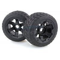 "Rovan 4.7/5.5"" Baja 5B Rear Tarmac Buster Tyres on Black Rims - Beadlocked Wheels 2Pcs"