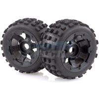 "Rovan 4.7/5.5"" Baja 5B Rear MX Tyres on Black Rims - Beadlocked Wheels 2Pcs"