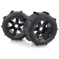 "Rovan 4.7/5.5"" Baja 5B Rear Sand Buster Tyres on Black Rims - Beadlocked Wheels 2Pcs"