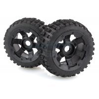 "Rovan 4.7/5.5"" Baja 5B Rear Bow Tie Tyres on Black Rims - Beadlocked Wheels 2Pcs"