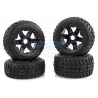 "Rovan 4.7/5.5"" Baja 5B Tarmac Buster II Tyres on Black Rims - Beadlocked Wheel Set"