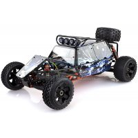 Rovan Black Steel GT Sand Rail Baja Roll Cage w/ Painted Blue Panels and LED Spot Lights & Spare Tyre Mount