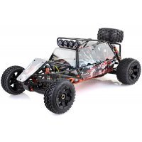 Rovan Black Steel GT Sand Rail Baja Roll Cage w/ Painted Red Panels and LED Spot Lights & Spare Tyre Mount