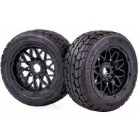 "Rovan 4.7/5.5"" Baja 5B Front Tarmac Buster Tyres on Black Mesh Rims - Beadlocked Wheels 2Pcs"