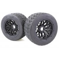 "Rovan 4.7/5.5"" Baja 5B Rear Tarmac Buster Tyres on Black Mesh Rims - Beadlocked Wheels 2Pcs"