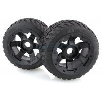 "Rovan 4.7/5.5"" Baja 5B Rear Tarmac Buster II Tyres on Black Rims - Beadlocked Wheels 2Pcs"