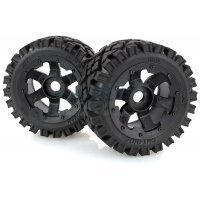 "Rovan 4.7/5.5"" Baja 5B Rear All Terrain Tyres on Black Rims - Beadlocked Wheels 2Pcs"