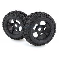 "Rovan 4.7/5.5"" Baja 5B Rear Trencher Tyres on Black Rims - Beadlocked Wheels 2Pcs"