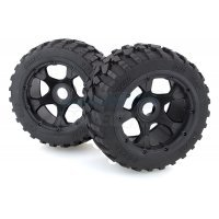 "Rovan 4.7/5.5"" Baja 5B Rear Gravel Tyres on Black Rims - Beadlocked Wheels 2Pcs"