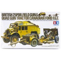 Tamiya 1/35 British 25 Pounder Field Gun & Towing Truck Scaled Plastic Model Kit