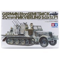 Tamiya 1/35 German 8 Ton Half-Track w/ 20mm Flakvierling (Sd.Kfz7/1) Scaled Plastic Model Kit