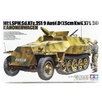 Tamiya 1/35 German Kanonenwager Ausf.D Half-Track w/ 7.5cm Kwk37L/24) Scaled Plastic Model Kit