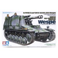 Tamiya 1/35 German Ie FH18/2 Auf GW II (Sd.Kfz.124) Wespe Self-Propelled Howitzer Scaled Plastic Model Kit