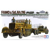 Tamiya 1/35 German 18 Ton Heavy Half-Track FAMO (Sd.Kfz. 9) & Tiefladeanhanger Tank Transporter (Sd.Ah. 116) Scaled Plastic Model Kit