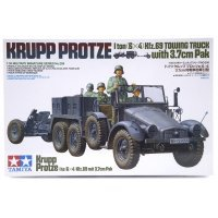 Tamiya 1/35 German Krupp Protze 6x4 1 Ton (kfz.69) Towing Truck w/ 3.7cm Pak Scaled Plastic Model Kit