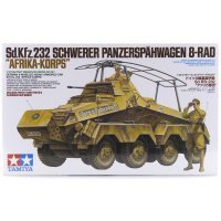 Tamiya 1/35 German Schwerer Panzerspahwagen 8-Rad Afrika Korps (Sd.Kfz. 232) Heavy Armored Car Scaled Plastic Model Kit